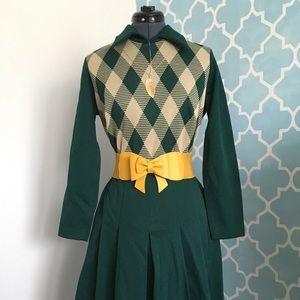 1970's Vintage - Green Argyle Dress